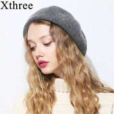 Winter Women Knitted Hat Girls Solid Wool Warm Berets Fashion Casual Caps Berets