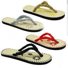 WOMENS BEACH SLIP ON GLITTER FRILL SUMMER FLIP FLOPS LADIES SANDALS NEW SIZE 4-9