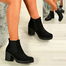 LADIES WOMENS SIDE ZIP ANKLE BOOTS MID HIGH BLOCK CHUNKY HEELS CHELSEA SHOES
