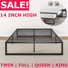 METAL PLATFORM BED FRAME QUEEN King Full Twin Size Steel Slat 14 Inch Tall New