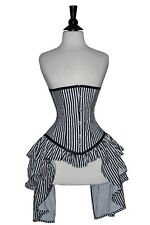 Under Bust Corset/Lingerie Steel Bones Lace up Front Busk Black & White Satin