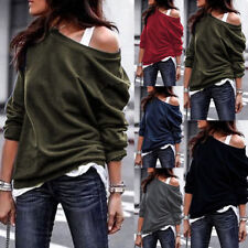 Fashion Women Off Shoulder Baggy Ladies Tops Loose Blouse Oversized T Shirt Tops