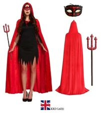 DEVIL CAPE COSTUME Feather Ladies Kids Halloween Fancy Dress Outfit Party Red UK