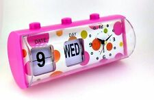 Kids Ladies Girls Candy Pink Color Table Clock with Date Day Alarm