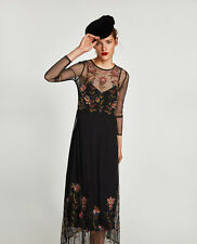 ZARA Embroidered Flowing Floral Long Sleeve Midi Mesh Dress XS S M BNWT