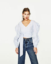 Zara SS17 Sky Blue Crossover Poplin Blouse Top With Full Sleeves Belt M Medium