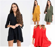 Womens Ladies Plunged plain Frill Hem Shift Skater Shirt Dress Party Top 08-14