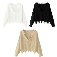 Womens Ladies Long Sleeve V Neck Distressed Sweater T Shirt Jumper Pullover Knit