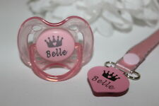 PERSONALISED DUMMY AVENT *CROWN HEART* DUMMY AND DUMMY CLIP *CAN BE STERILISED*