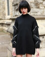 faux fur and crystal Stone diamond embellished Sleeves long knitted jumper dress