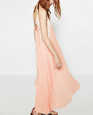 ZARA STUDIO Linen Flowing Maxi Dress Pink White Guipure Lace Summer Beach XS S M