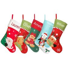 Personalised Christmas Stocking Embroidered/Heat Press Xmas Red Fabric Sock Boot