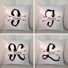 "Personalised White 18"" Cushion - Monogram - Name - Style 1 - Letters I/J/K/L"