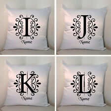 "Personalised White 18"" Cushion - Monogram - Name - Style 2 - Letters I/J/K/L"