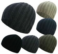 MENS SKULL BEANIE HATS SKI/SNOWBOARD WINTER WARM RIBBED BLACK/GREY/BLUE/BROWN