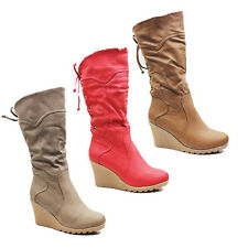 WOMENS FOLD OVER FAUX FUR CUFF WEDGE HEEL MID CALF BOOTS LADIES SHOES SIZE 3-8