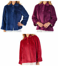 Slenderella Ladies Waffle Flannel Fleece Bed Jacket Womens Button Up House Coat