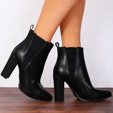 Shoe Closet CHELSEA POINTED BLOCK HIGH HEELED ANKLE BOOTS HIGH HEELS SHOES SIZE