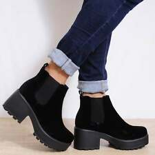 LADIES BLACK FAUX SUEDE LEATHER CHUNKY BLOCK HEEL ANKLE BOOTS SHOES SIZE 3-8