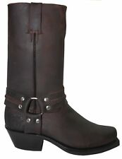 Men's Leather Boot Grinders Harness Hi Brown Cowboy Western Slip On High Boots