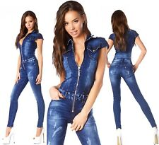 Sexy New Womens Denim Navy Blue Denim Jeans Classic Jumpsuit Overall N 900