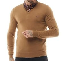 Fred Perry Genuine Mens V-Neck Sweater Jumper Tipped Retro Caramel 100% Wool