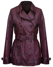 Women's 3/4 Brown Ladies Goth Soft Lamb Leather Nappa Trench Jacket Coat