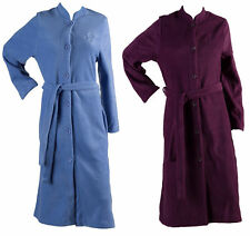 b727334a63 Dressing Gown Womens Button Up Soft Polar Fleece Traditional House Coat Robe