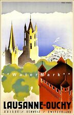 Switzerland 1930 Lausanne Ouchy Vintage Poster Print Château d'Ouchy Neo Gothic