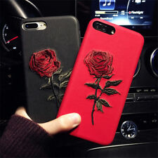 Fashion Floral Rose Flower Embroidery Phone Case Cover For IPhone X 6 7 8 plus