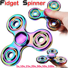 Metal Rainbow Fidget Finger Spinner Hand Focus Spin Aluminum Stress Toy LOT UK
