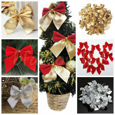 5 Colors Christmas Tree Bow Decoration Baubles XMAS Party Garden Bows Ornament