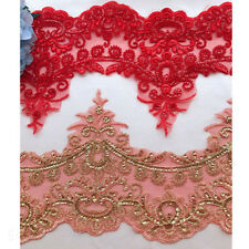1 Yard Embroidered Sequin Lace Trim Applique Wedding Dress Lace Fabric Decor