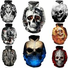 Poker Flame Skull 3D Capucha sudaderas Pull-over Hombres Mujer Gráficos Invierno
