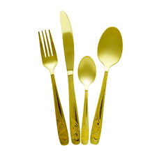 Large Gold Plated Stainless Steel Kitchen Pro Cutlery Set 16 24 32 48 Pieces  G6