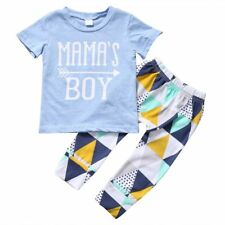 Summer Short Sleeve Mamas Boy Cotton Shirt Tops Pant Outfit Newborn Baby Clothes