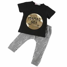 Short Sleeve Shirt Top Pants Children Outfit Set Newborn Baby Mamas Boy Clothing