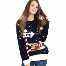 UNISEX Christmas To The Pub 3D Knitted Ugly Jumper Festive Vintage  Sweater