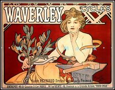 Cycles Waverley 1898 Vintage Poster Print Classic French Bicycle Art by Mucha