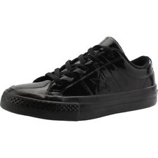 Converse One Star Patented 90s Ox Black Synthetic Patent Junior Trainers Shoes