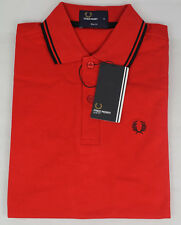 FRED PERRY SHORT SLEEVE SLIM FIT POLO RED T-SHIRT FOR MEN NEW WITH TAGS