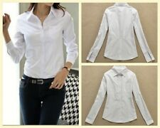 White Long Sleeve Turn-down Collar Lady Blouse Fashion Women Tops Work Ladies