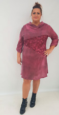 Wolfairy Womens Italian Lagenlook Quirky Long Sleeve Dress Embellished Plus Size