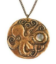 Bronze Octopus and Moonstone Pendant Necklace- Smooth Antiqued Brass Curb Chain