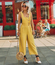 ZARA SS18 Buttoned Linen Culotte Cropped Jumpsuit Dungarees Overalls Yellow S