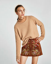 Zara Embroidered Real Suede Leather Floral Mini Skirt Camel Brown L UK 12 BNWT