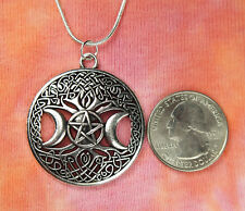 Triple Goddess Pentacle Moon on Celtic Tree of Life Necklace-Pentagram Crescent