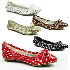 WOMENS FLAT POINTED TOE BALLERINA BALLET DOLLY PUMPS LADIES SHOES NEW SIZE 3-8