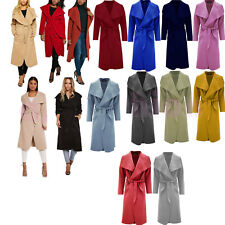 New Ladies Italian Coat Jacket Waterfall Long Sleeve Women Trench Winter Outwear