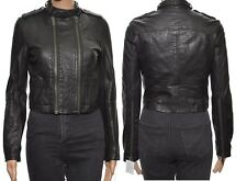 Topshop Boutique Black Leather Cropped Biker Jacket Steampunk Retro style
